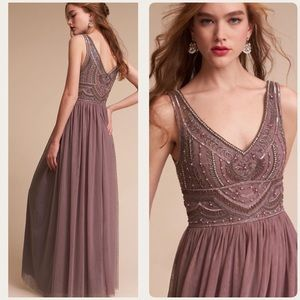BHLDN Sterling 2 Embellished Bodice Tulle Plum New